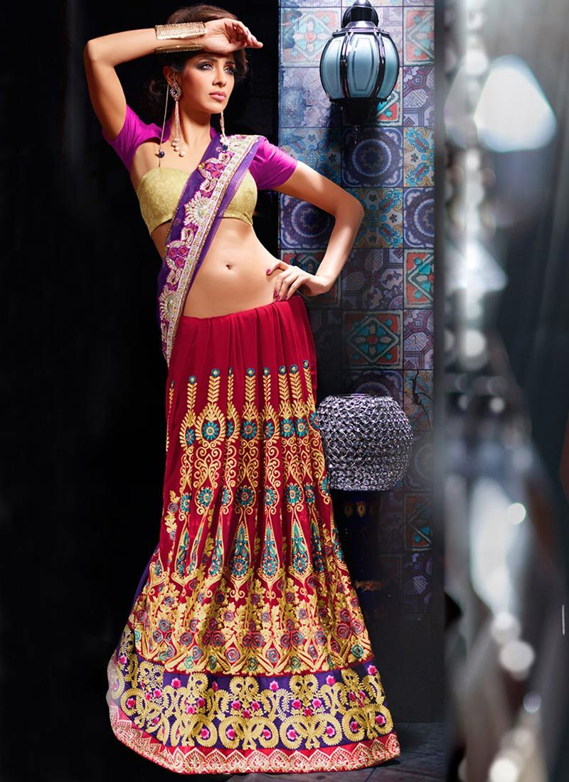 Maroon And Purple Georgette Lehenga saree