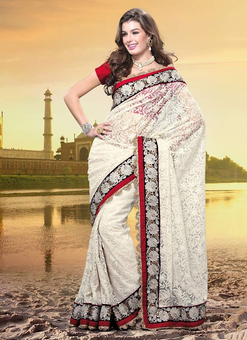 Pale Cream Net Saree