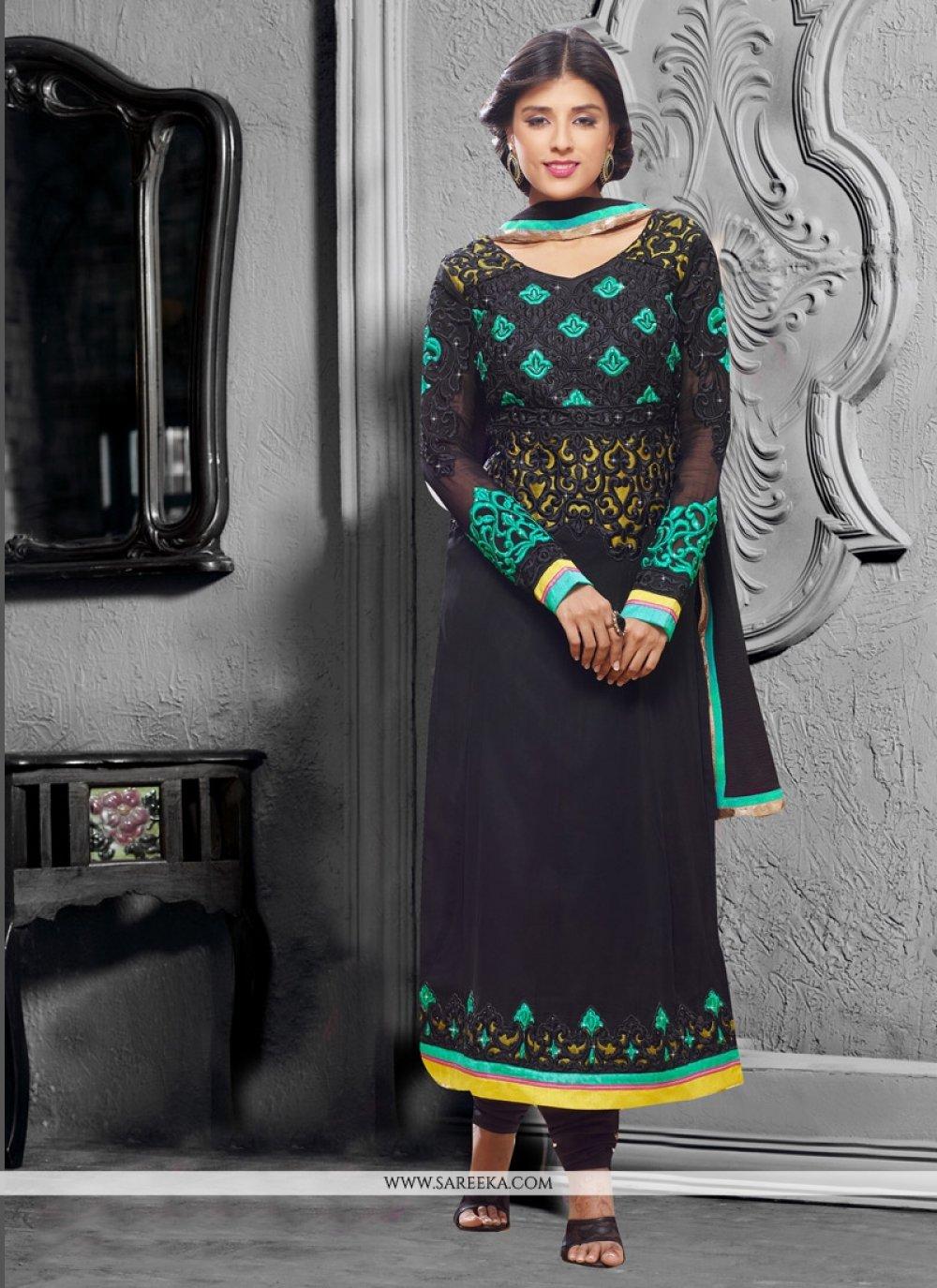 Patch Border Work Black Churidar Designer Suit