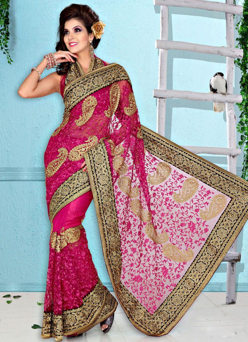 Pink Resham Net Saree