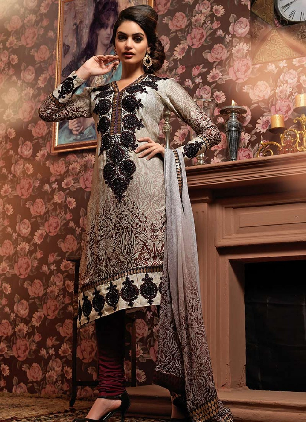 Printed Satin Churidar Suit