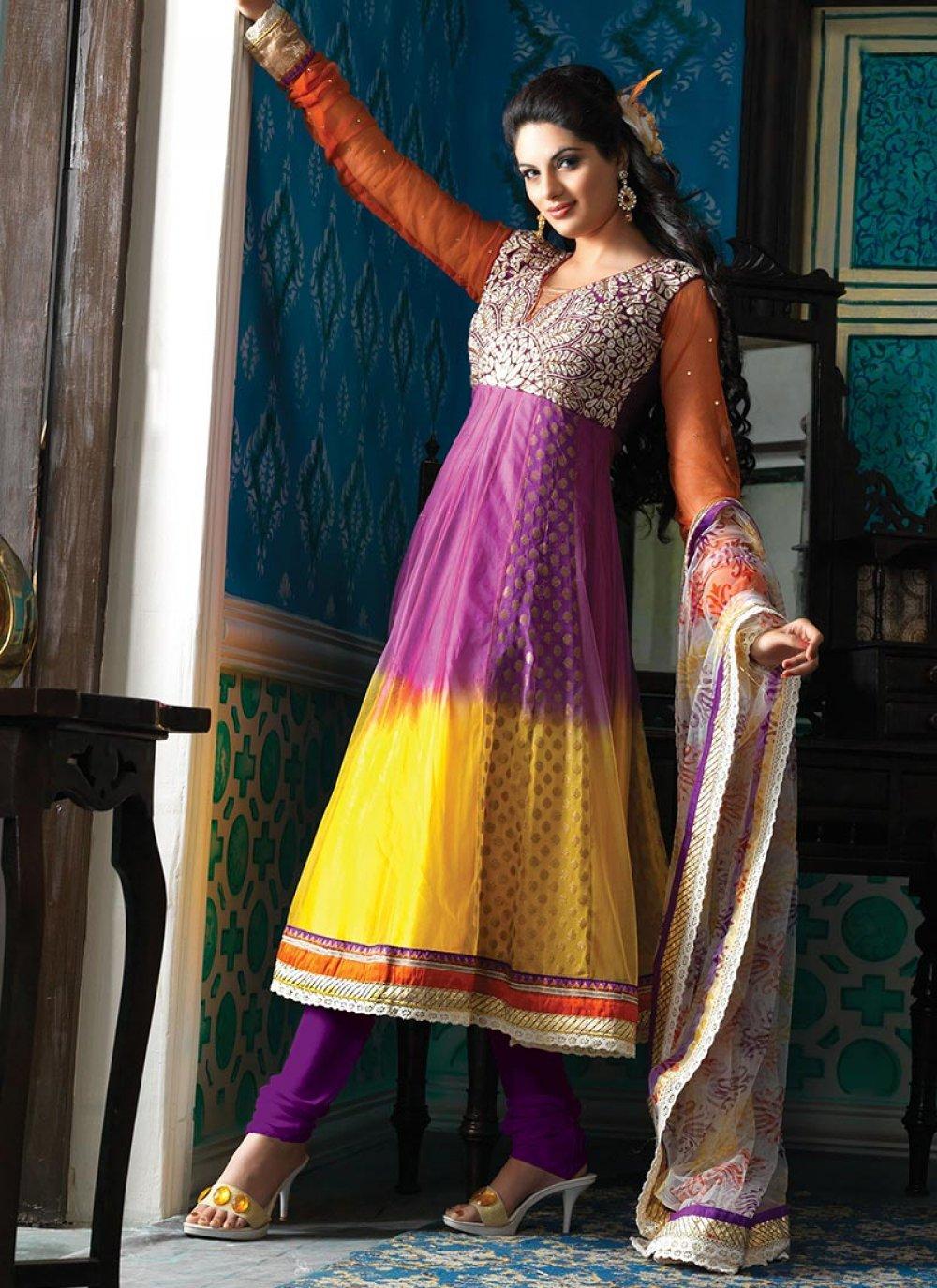 Purple And Yellow Net Churidar Suit