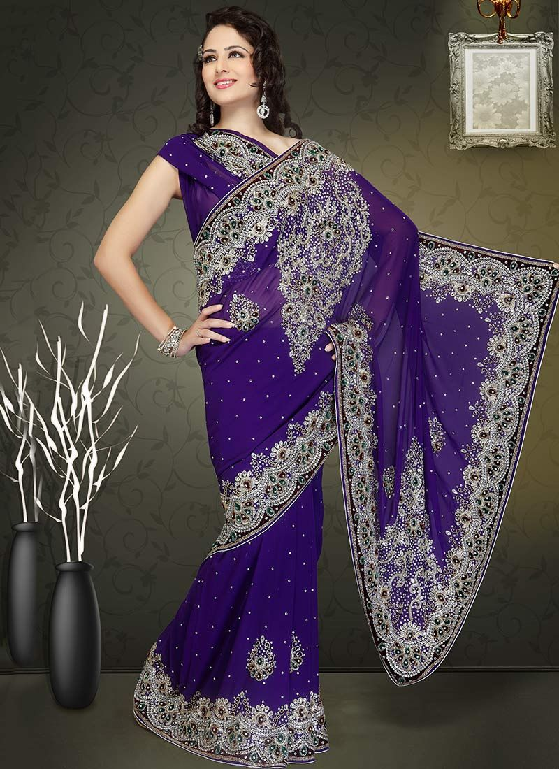 Purple Faux Georgette Border Work Saree