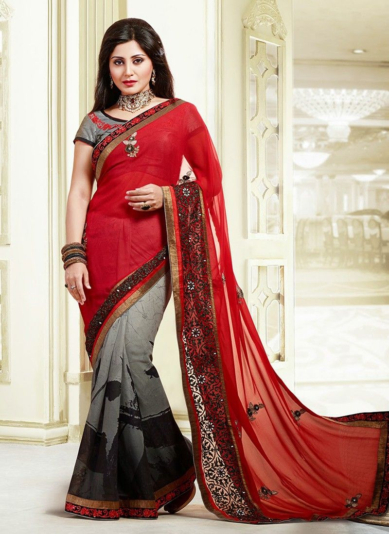 Red And Grey Border Work Georgette Wedding Saree