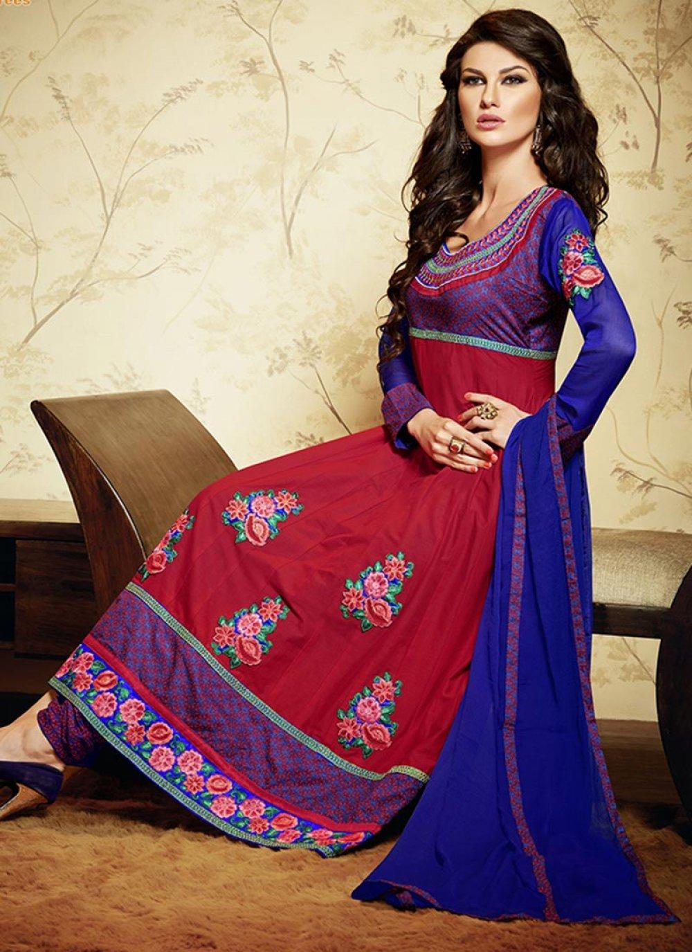 Red Border Work Cotton Anarkali Suit