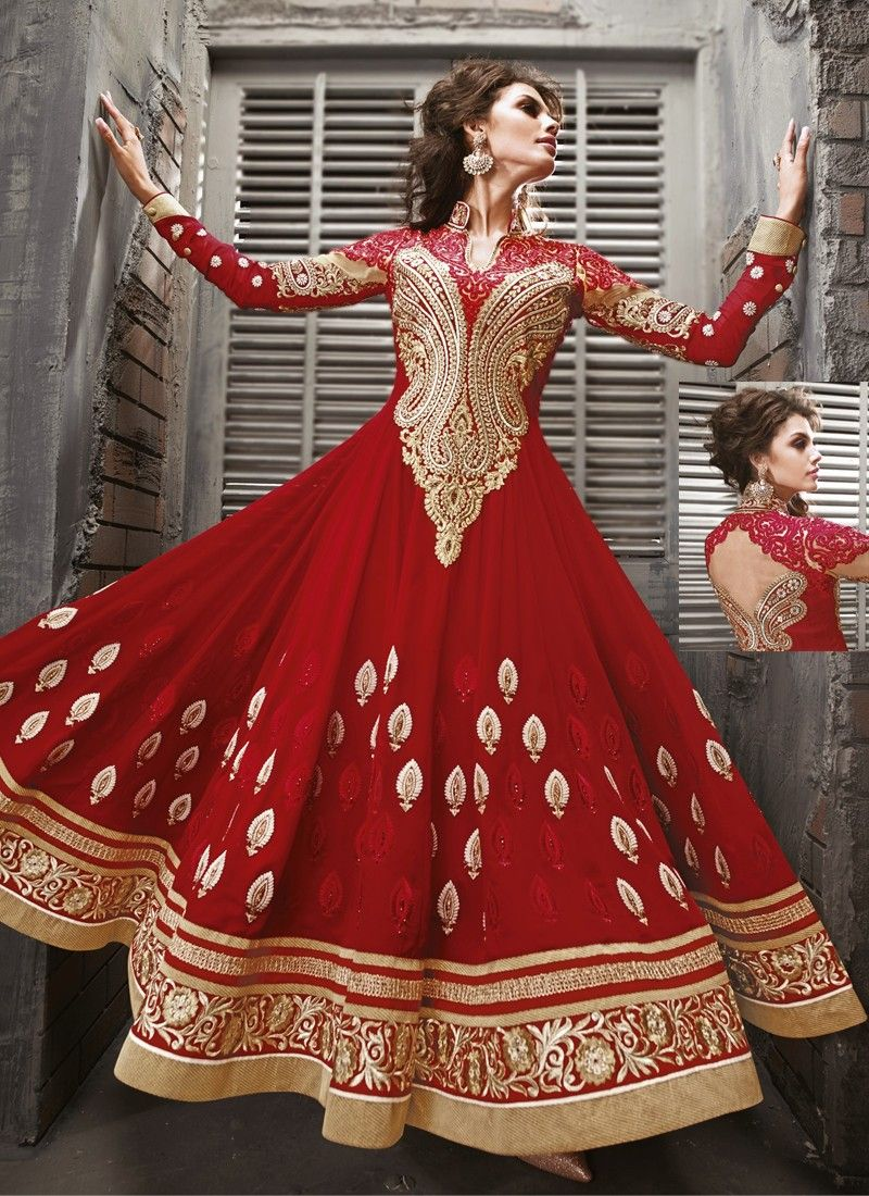 Red Embroidery Work Net Anarkali Suit