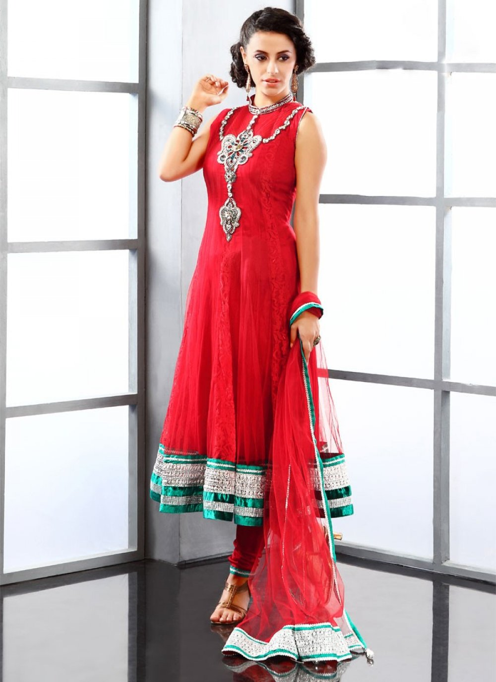 Red Net Anarkali Suit