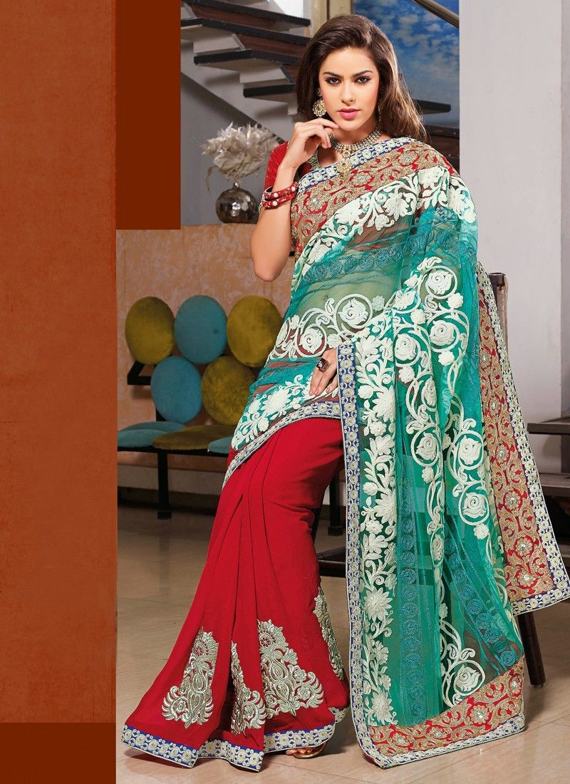 Red Resham Work Designer Saree