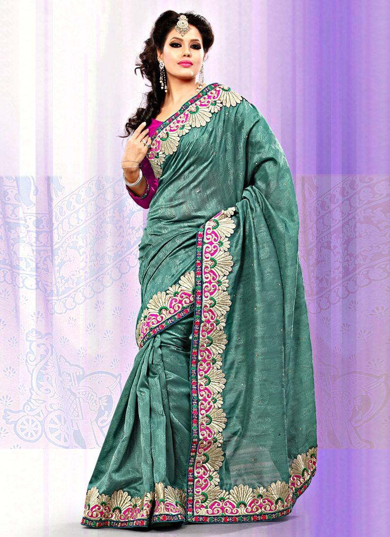 Teal Bhagalpuri Jacquard Silk Saree
