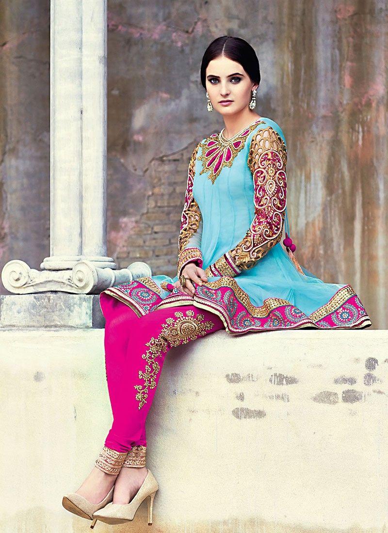 Turquoise Net Short Churidar Suit