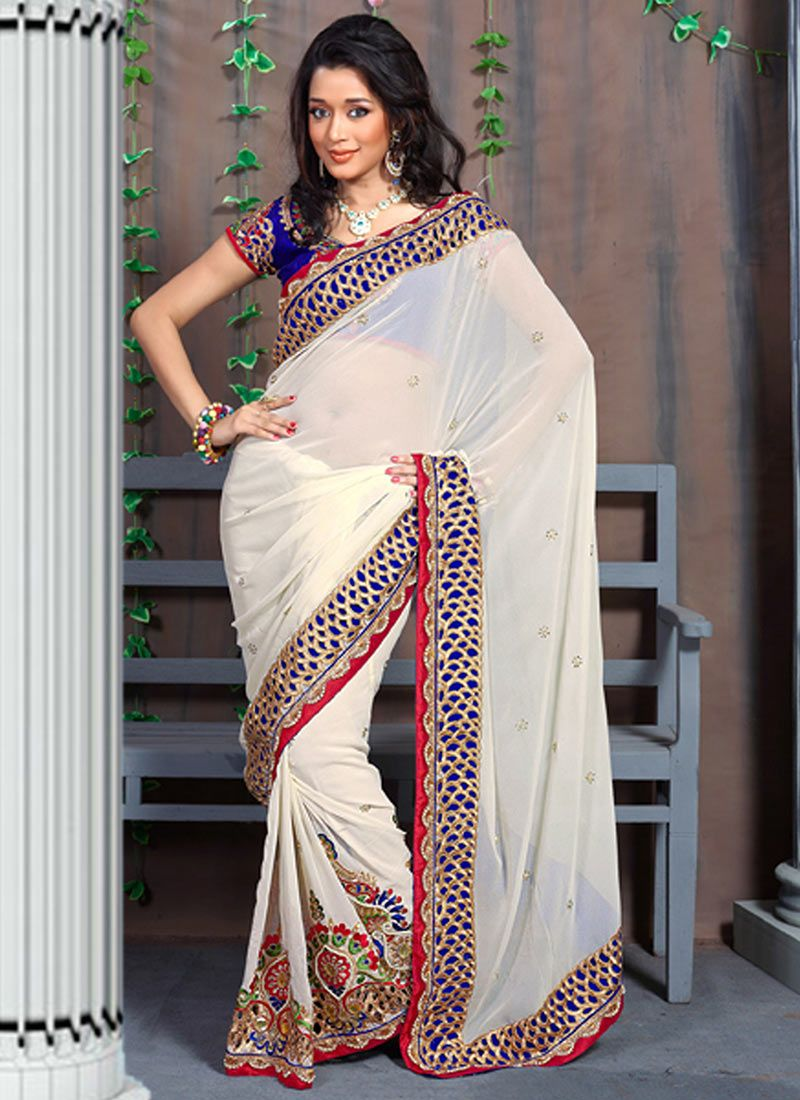 White Faux Georgette Stylish Saree