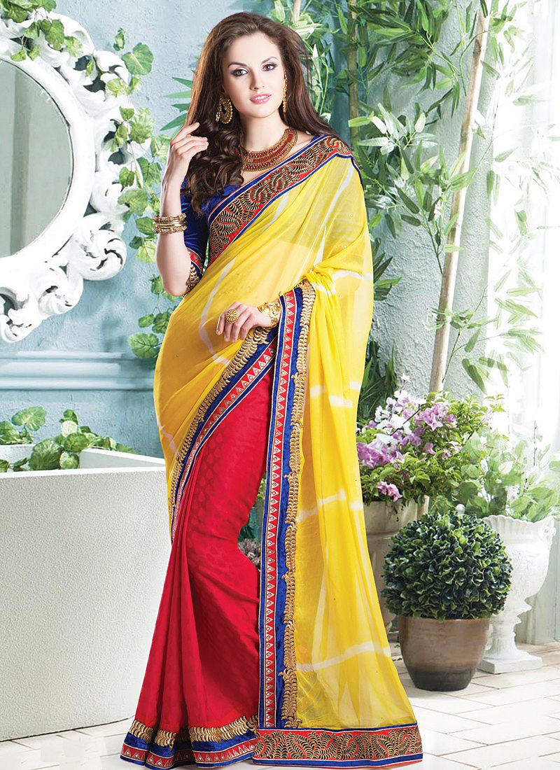 Yellow And Red Border Work Half And Half Saree