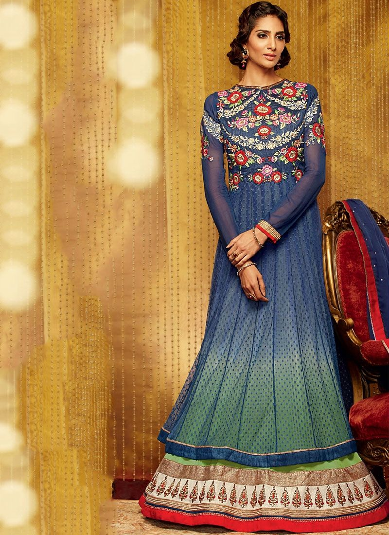 Attrective Blue Embroidery Work Georgette Anarkali Suit