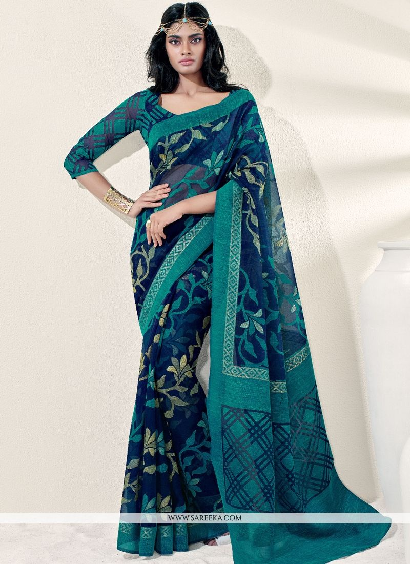 Blue Brasso Georgette Casual Saree