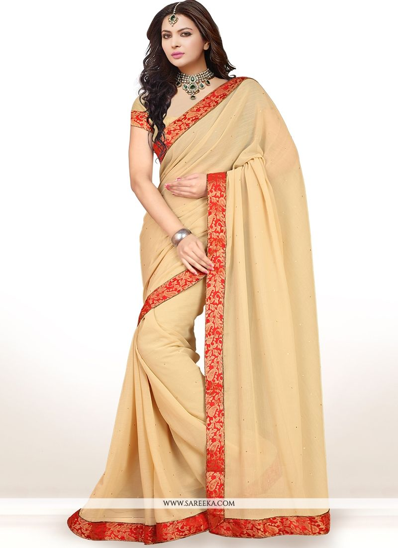 Faux Chiffon Cream Lace Work Casual Saree