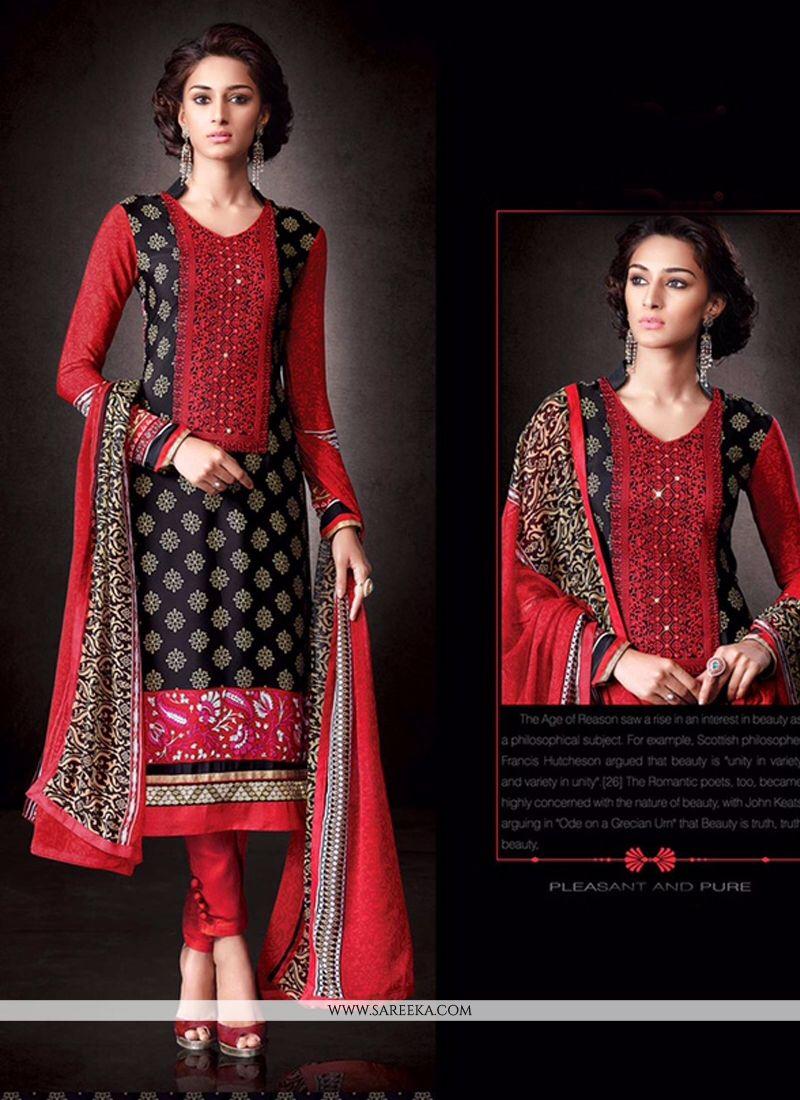 Faux Crepe Black and Red Print Work Designer Salwar Suit