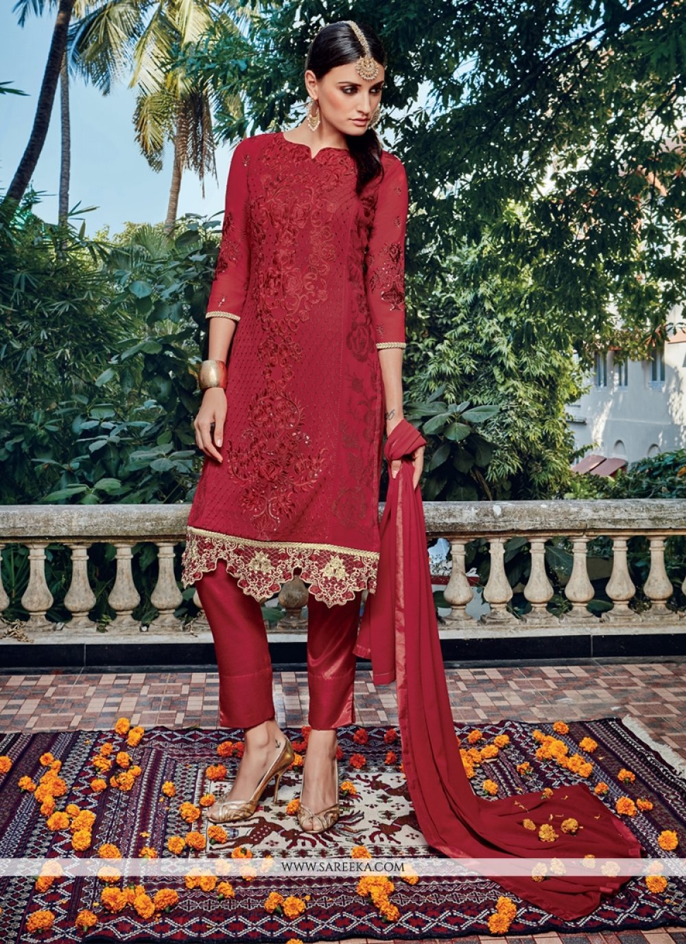 Maroon Embroidered Work Pant Style Suit