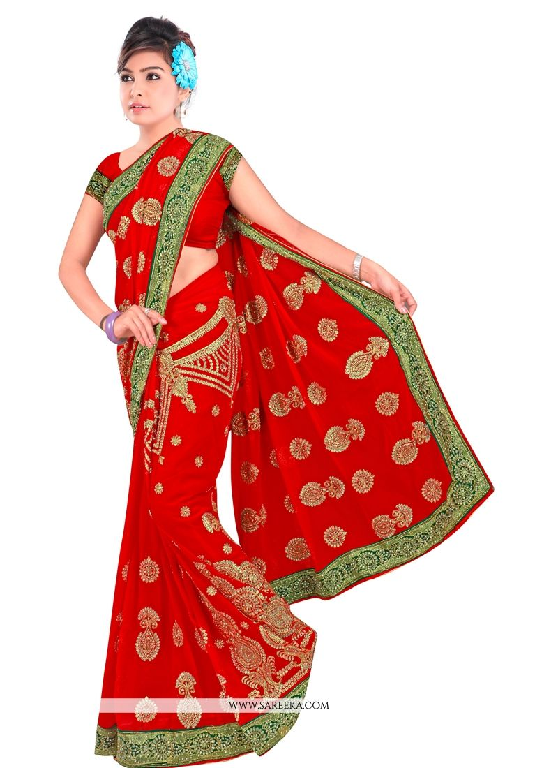 Red Contemporary Style Saree