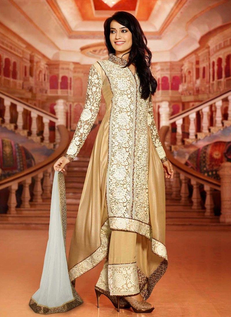 Beige Embroidery Work Net Anarkali Salwar Suit