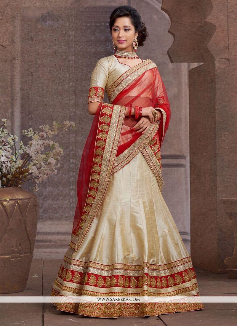 Beige Silk Wedding Lehenga Choli