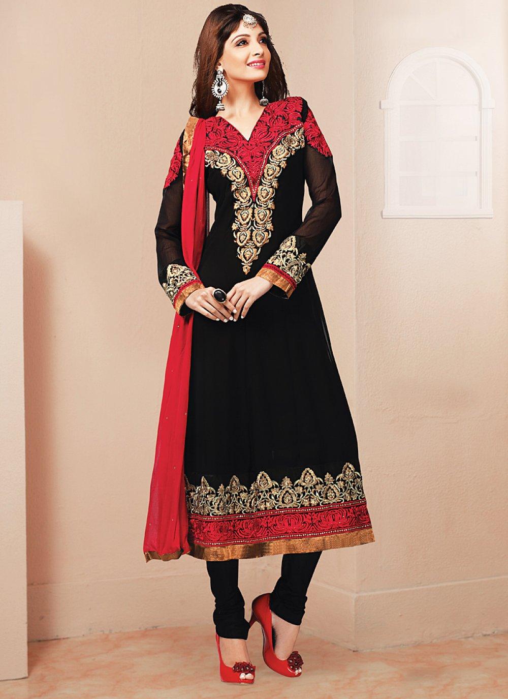 Black And Red Resham Work Churidar Salwar Suit