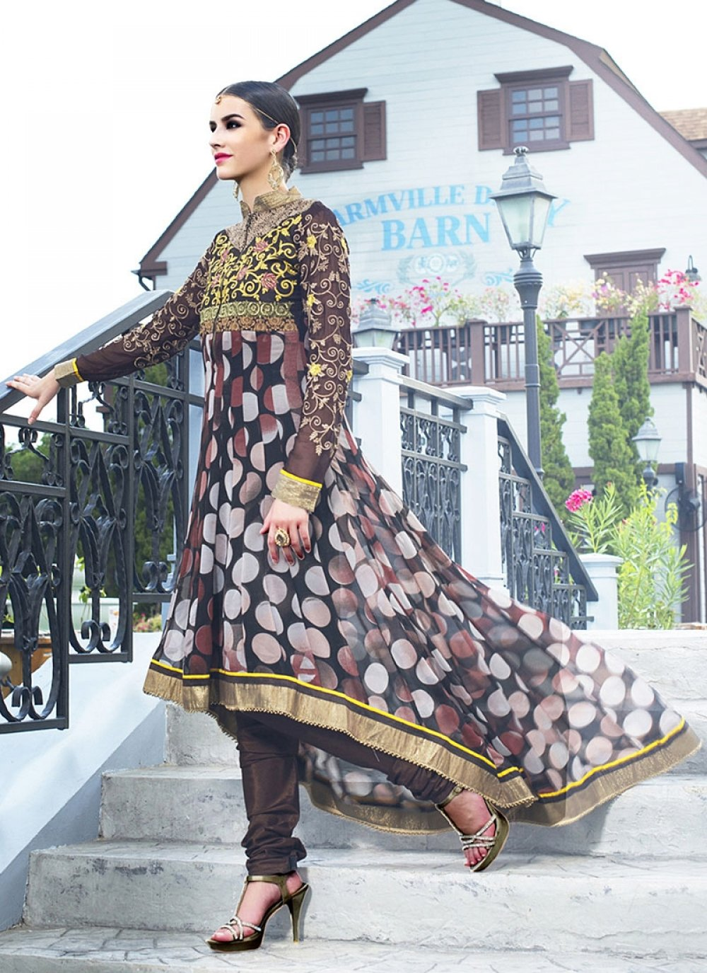 Black Embroidery Faux Georgette Anarkali Suit