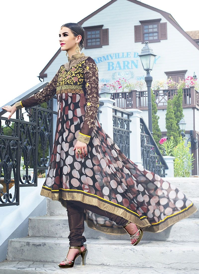 Black Embroidery Faux Georgette Anarkali Suit