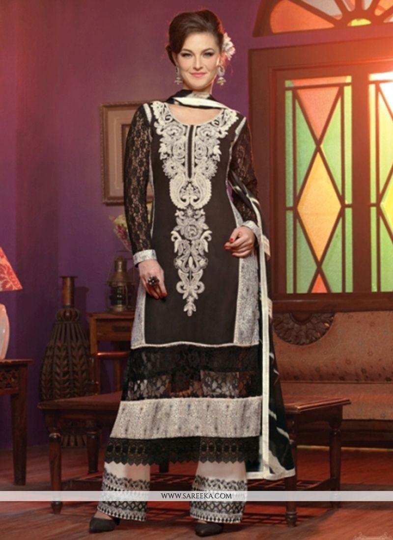 Black Georgette Palazzo Suit