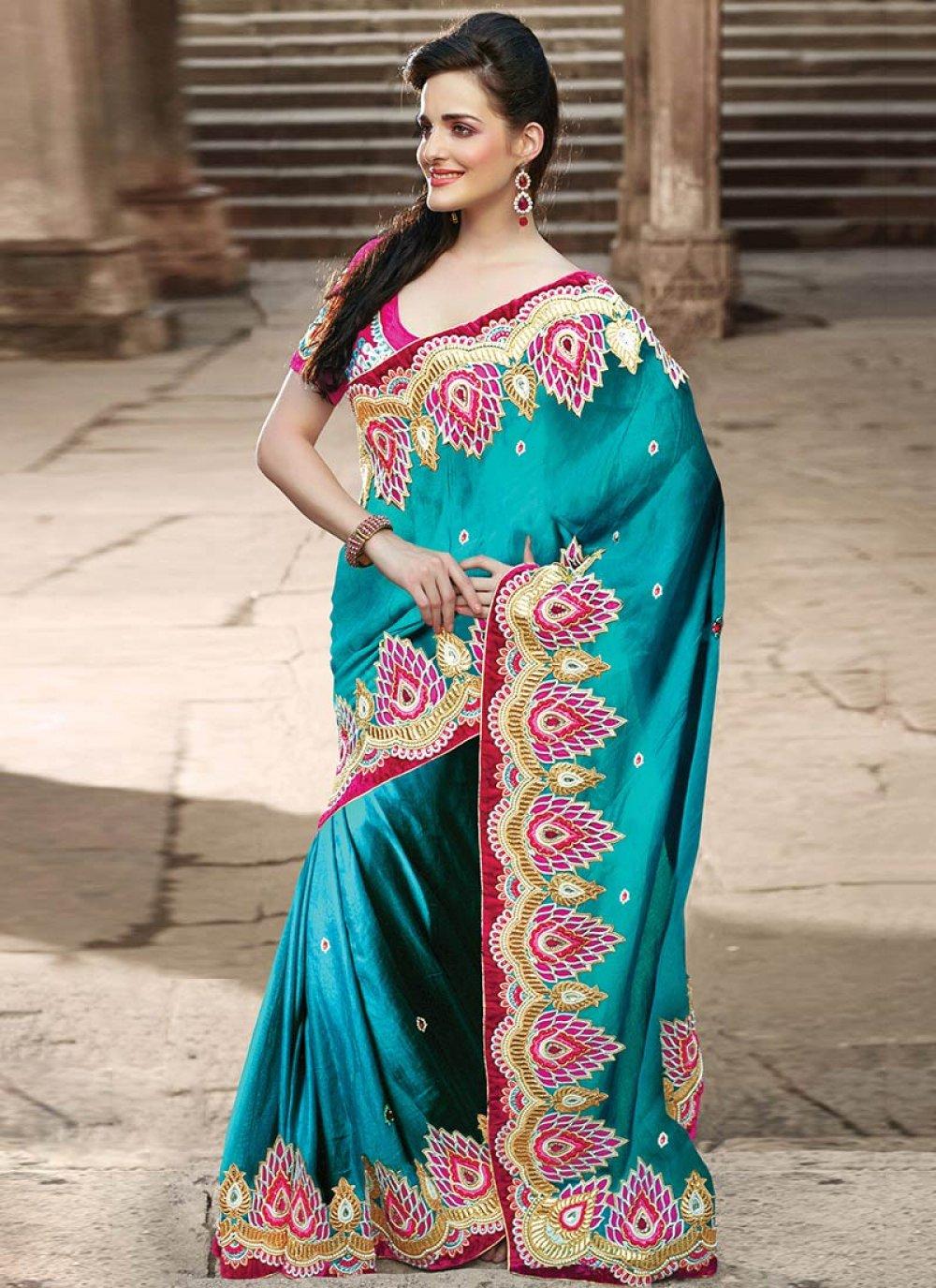 Blue Art Silk Casual Saree