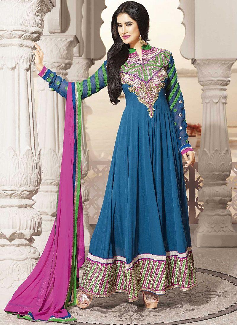Blue Georgette Embroidered Long Anarkali Suit