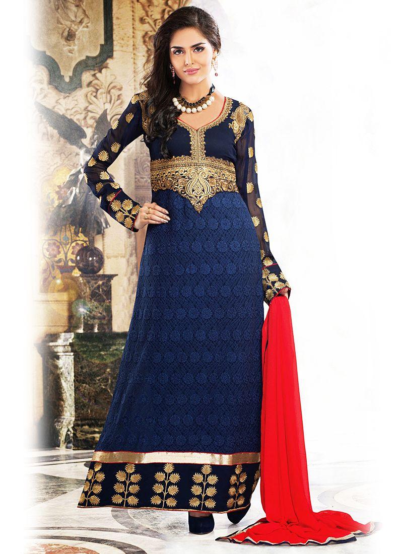 Blue Zari Patch Border Work Anarkali Suit