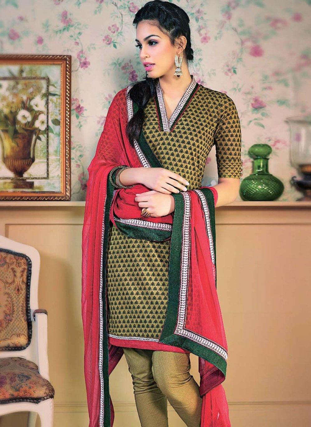 Brown Printed Cotton Churidar Suit