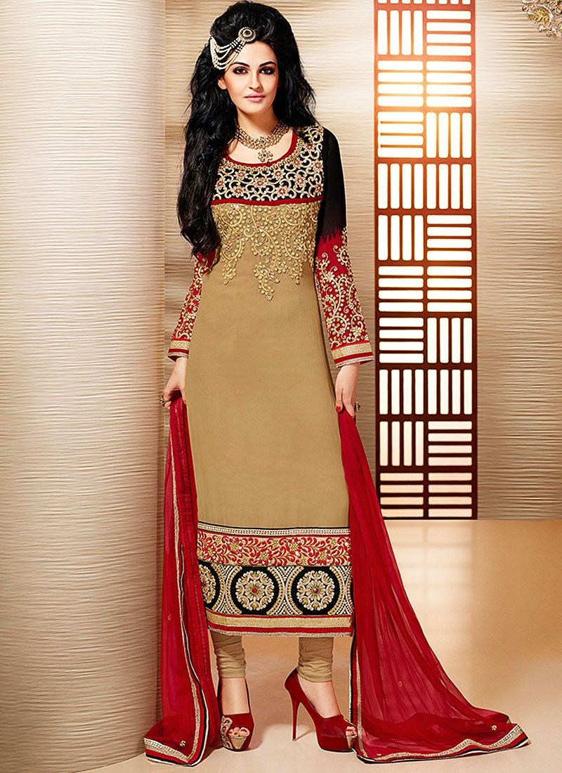 Brown Resham Work Faux Georgette Churidar Suit