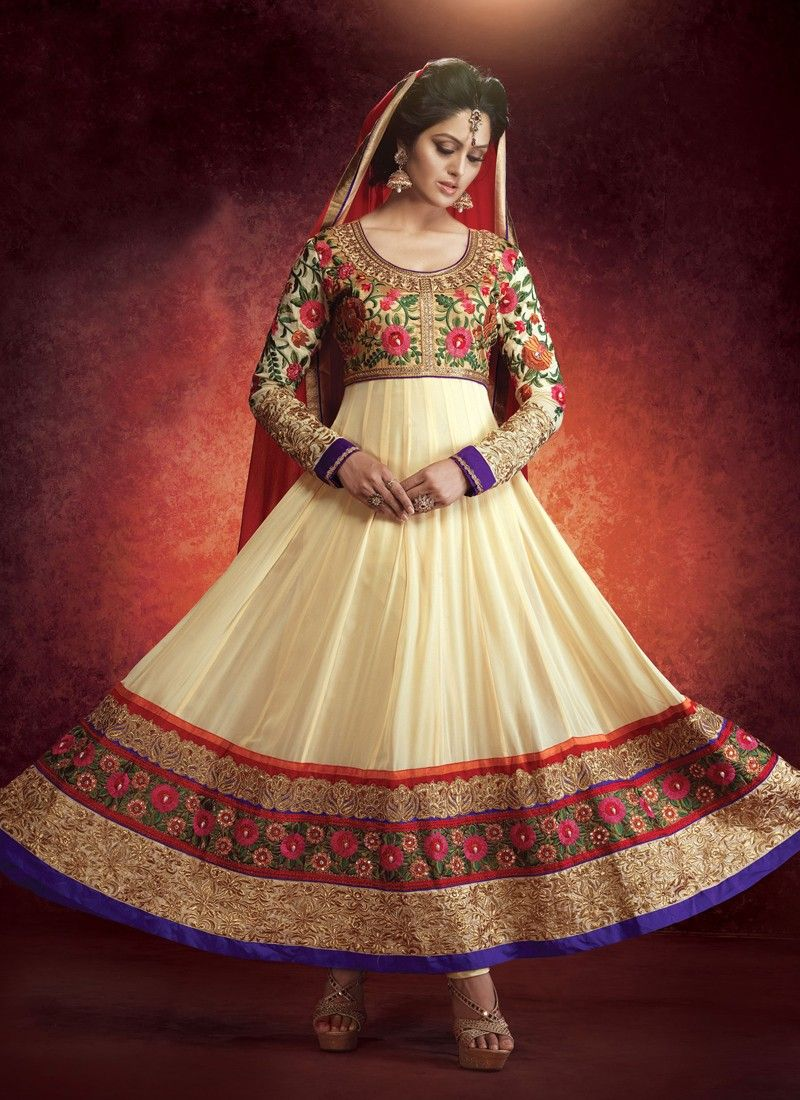 Cream Resham Work Faux Georgette Anarkali Suit