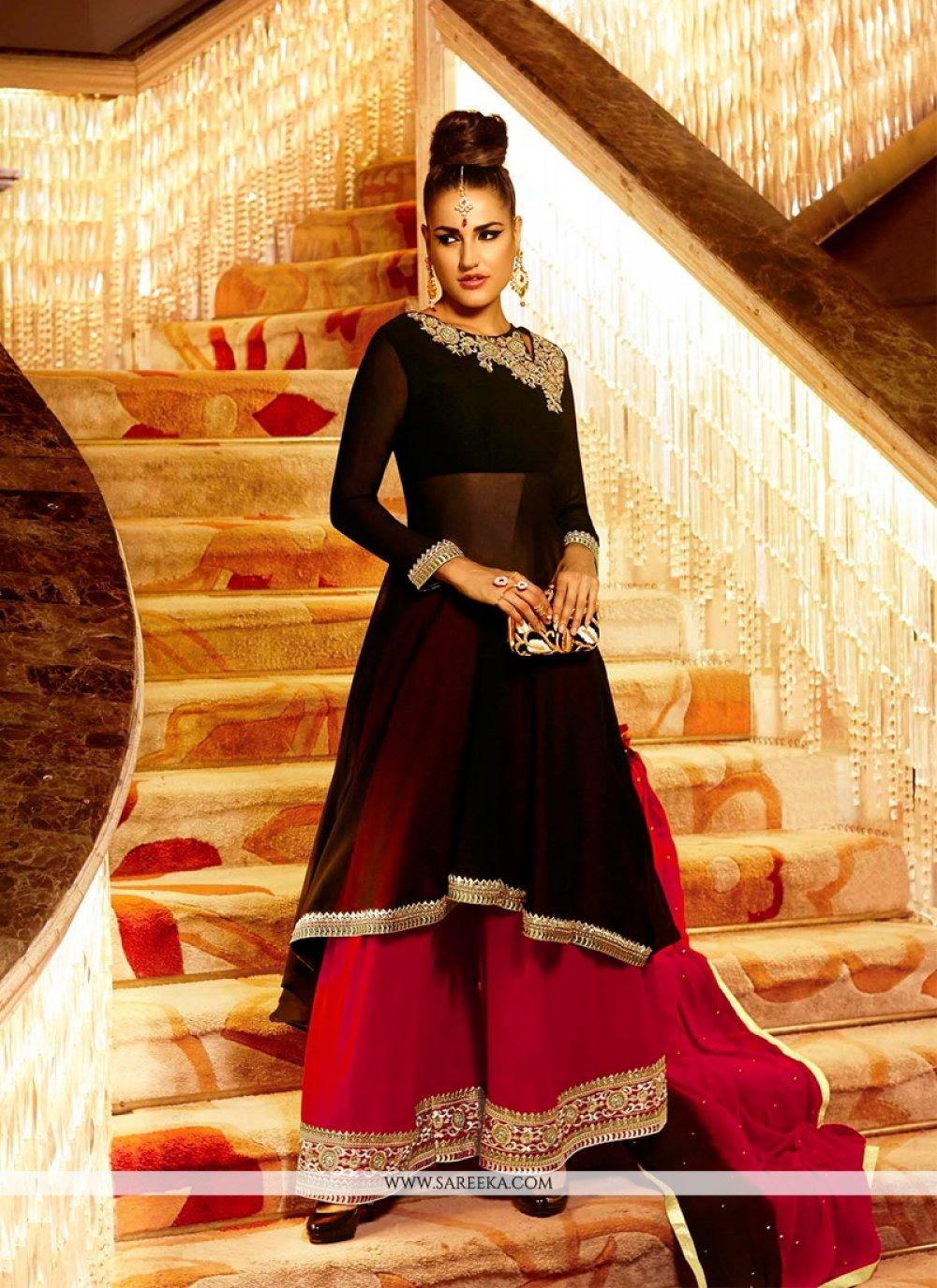 Georgette Black Resham Work Designer Palazzo Salwar Suit