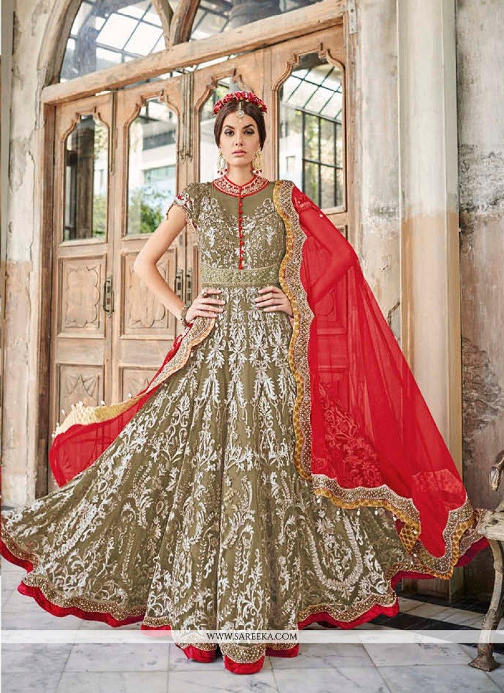 Green and Red Anarkali Salwar Suit