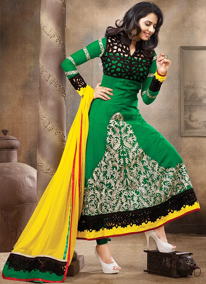 Green And Yellow Resham Work Anarkali Suit