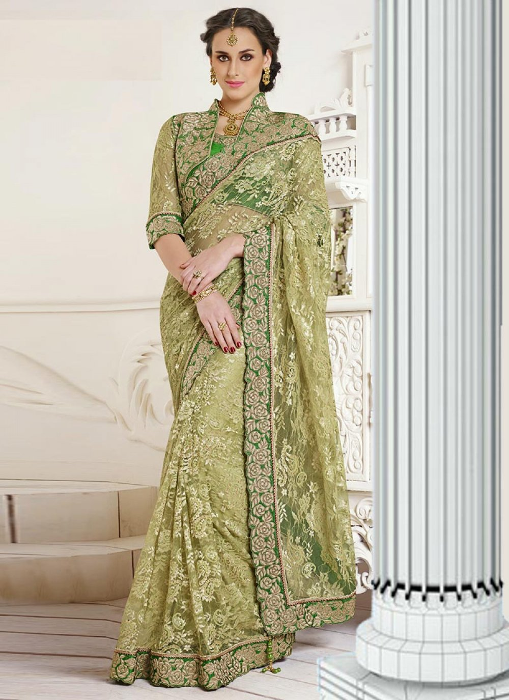 Green Net Jacquard Designer Saree