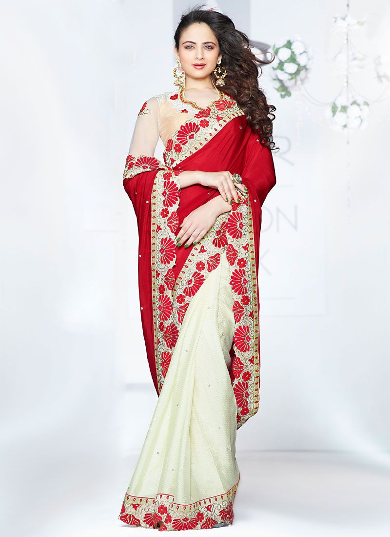 Maroon And Cream Chiffon Silk Saree