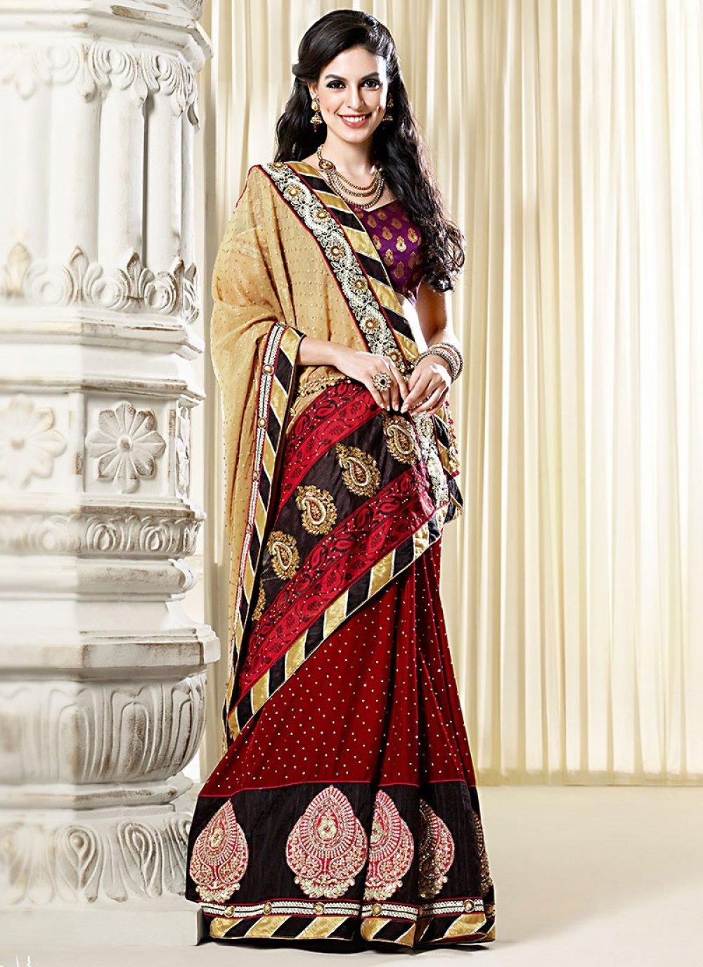 Multi Color Velvet Designer Saree