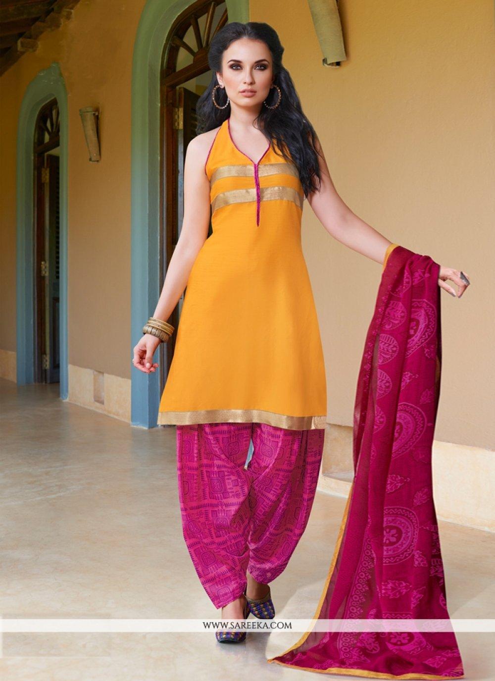 Mustard Cotton Satin Punjabi Suit