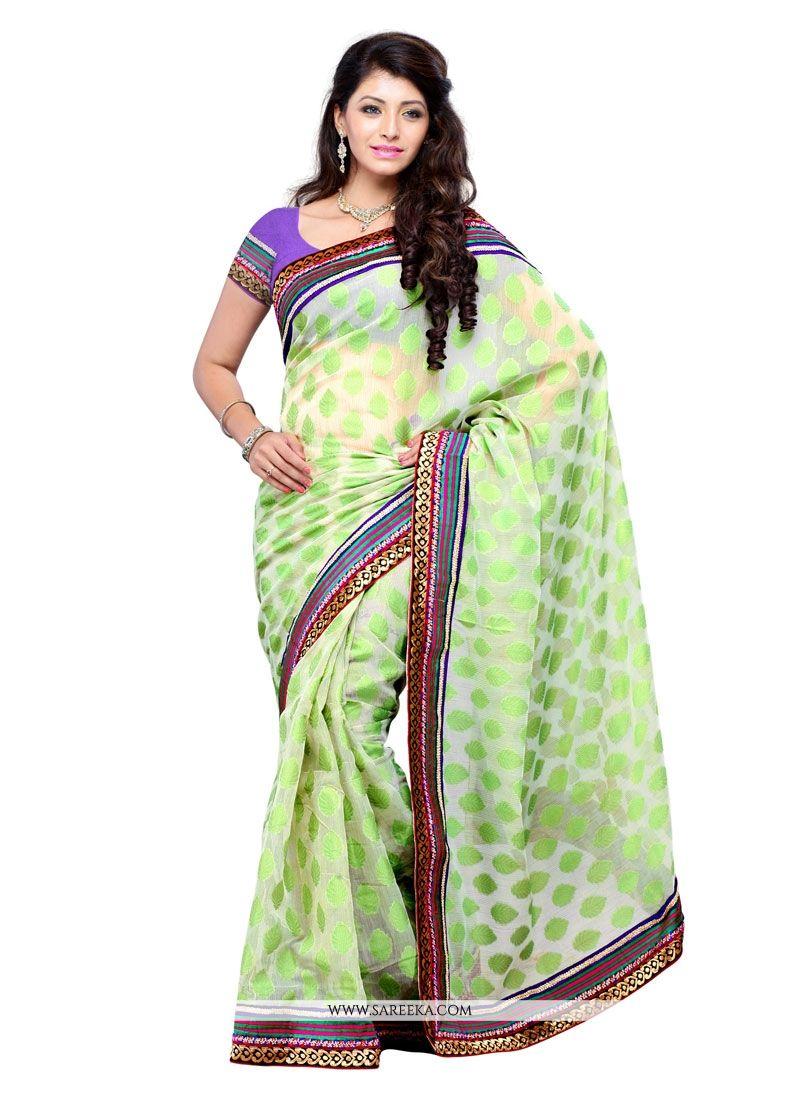 Net Sea Green Designer Saree
