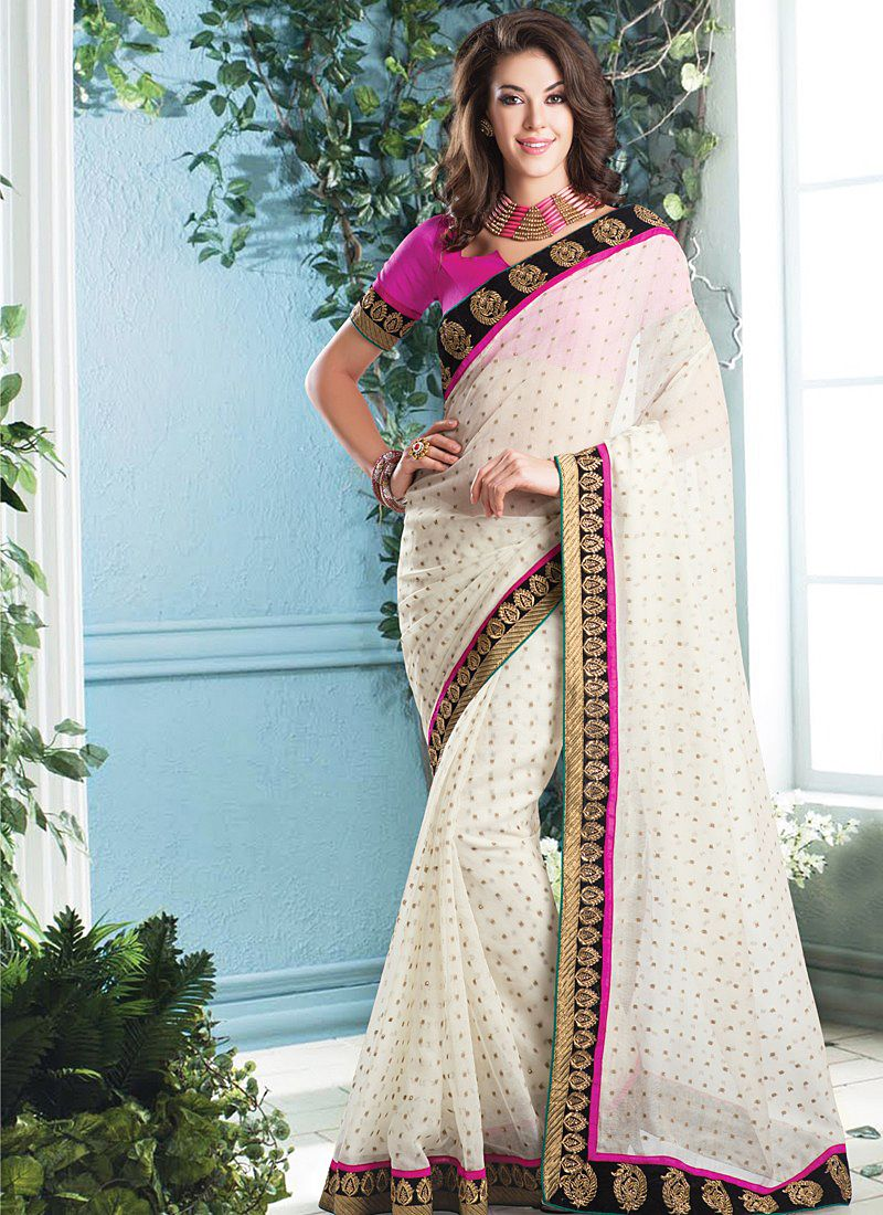 Awesome Off White Border Work Cotton Party Wear Saree -