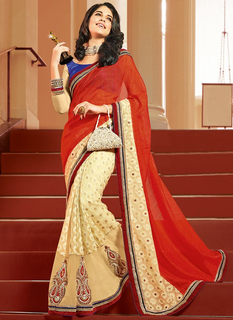 Orange Benarasi Half And Half Saree