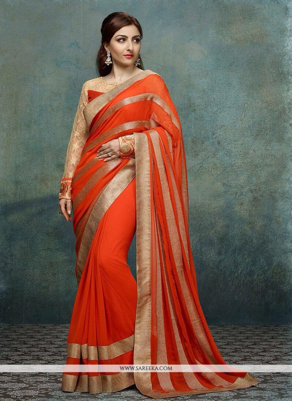 Soha Ali Khan Orange Georgette Casual Saree
