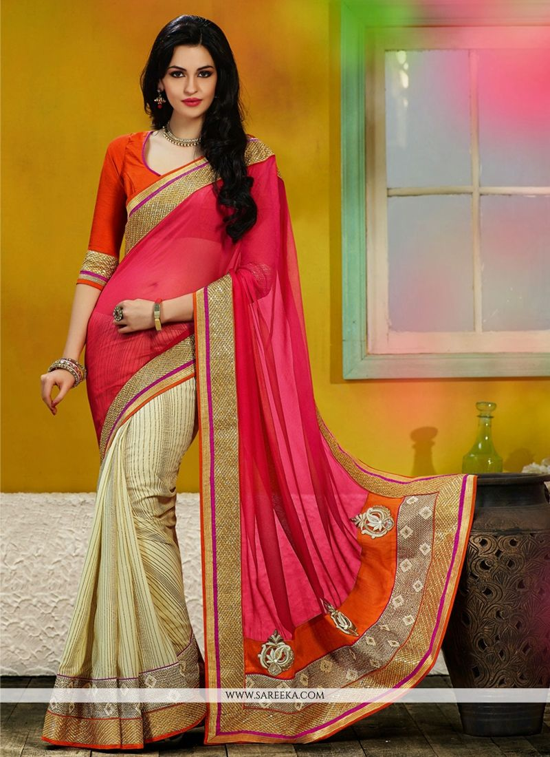 Pink And Cream Georgette Saree