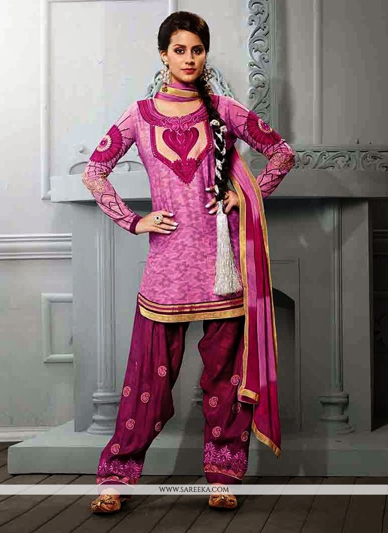 Pink Cotton Jacquard Punjabi Suit