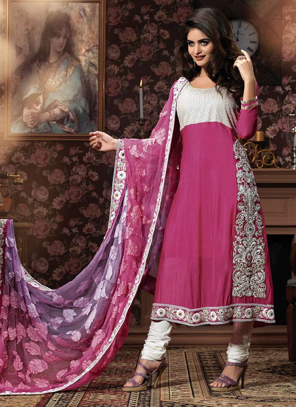 Pink Crepe Churidar Suit