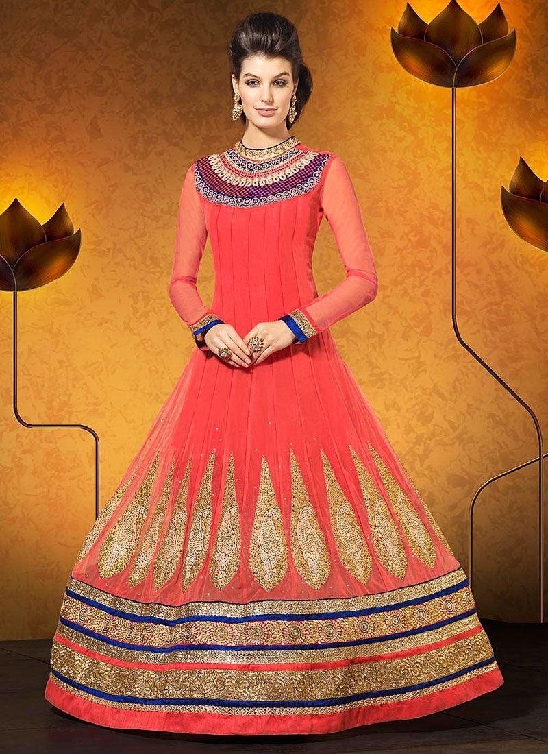 Pink Embroidery Net Georgette Anarkali Suit