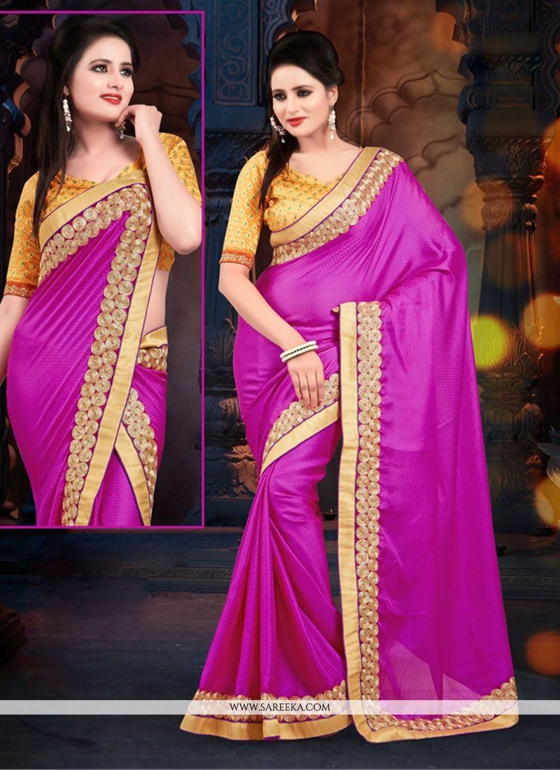 Pink Satin Jacquard Casual Saree